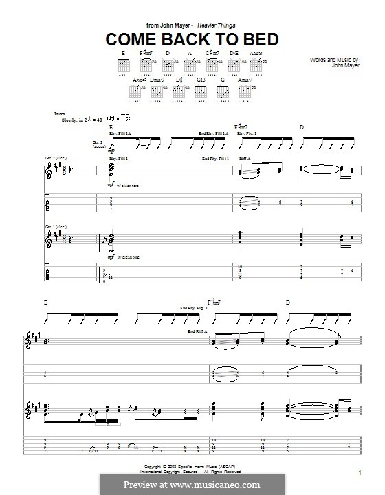 Come Back To Bed: For guitar with tab by John Mayer