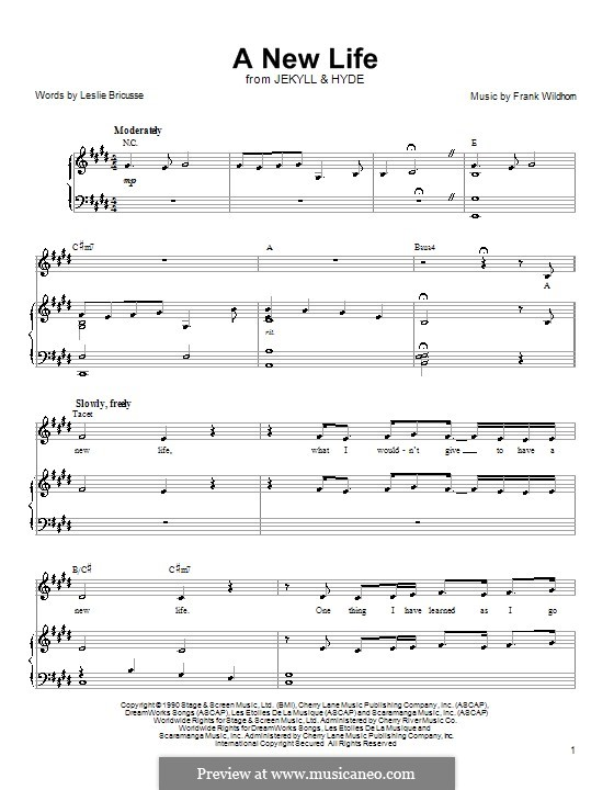 A New Life (from Jekyll and Hyde): For voice and piano (or guitar) by Frank Wildhorn