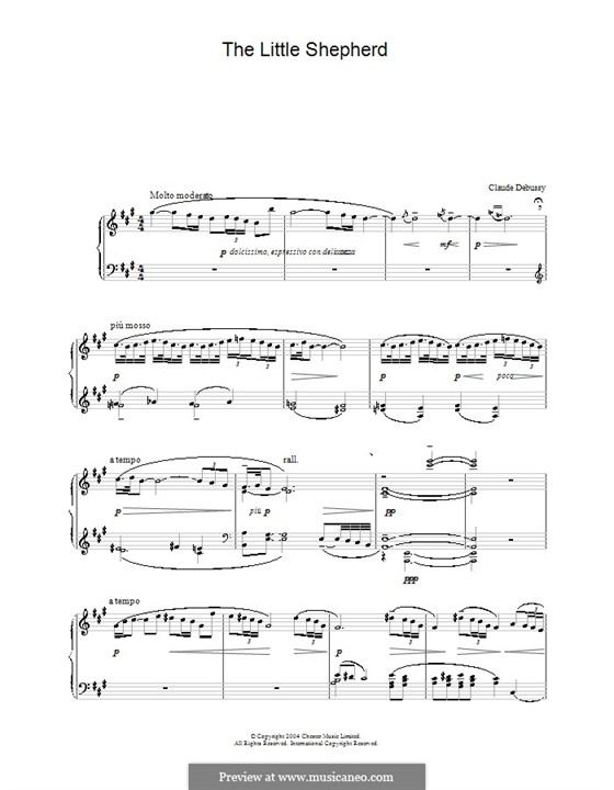 No.5 The Little Shepherd: For piano (high quality sheet music) by Claude Debussy