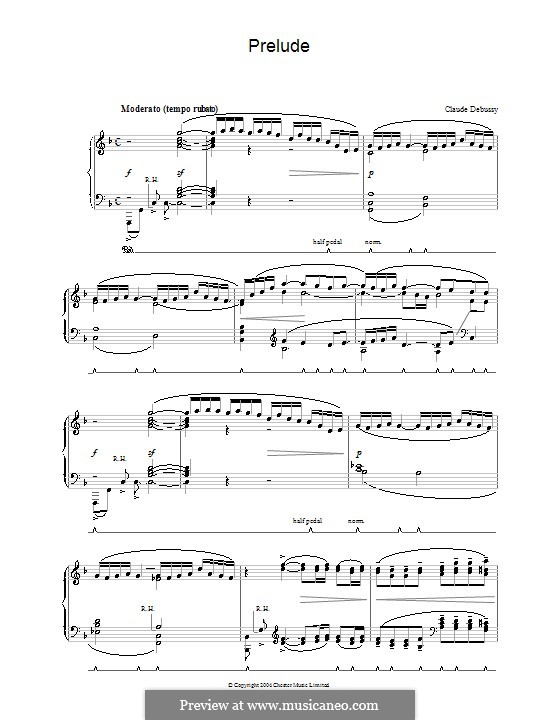 Prelude: For piano by Claude Debussy