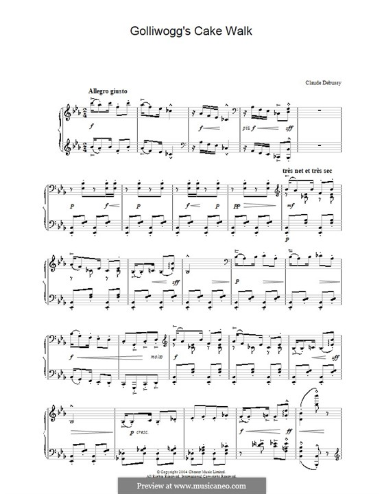No.6 Golliwogg's Cakewalk: For piano (high quality sheet music) by Claude Debussy