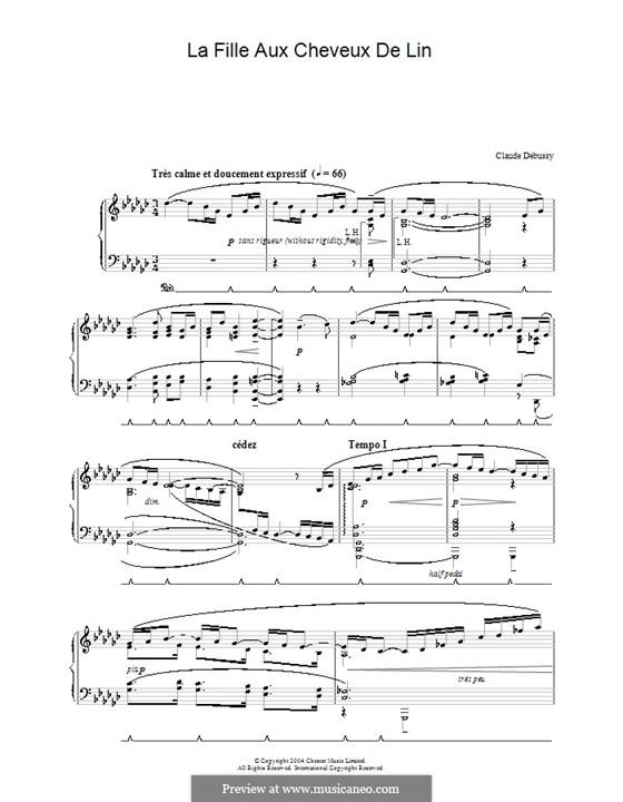No.8 La fille aux cheveux de lin: For piano (high quality sheet music) by Claude Debussy
