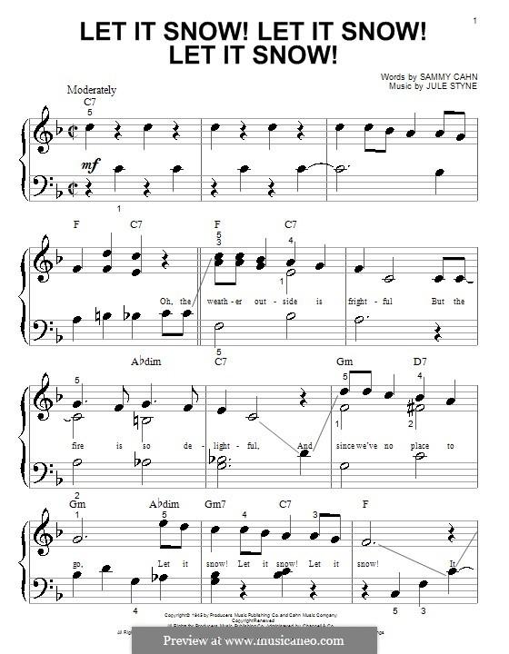 Let It Snow! Let It Snow! Let It Snow!, for Piano: Very easy version by Jule Styne