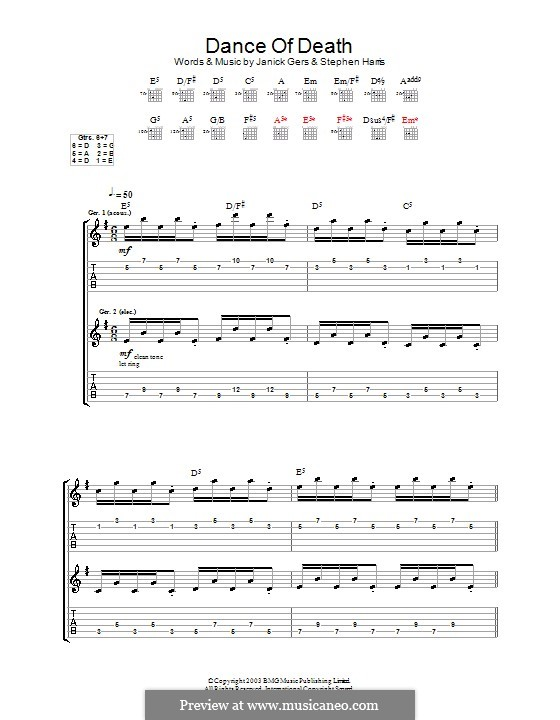 Dance of Death (Iron Maiden): For guitar with tab by Janick Gers, Steve Harris