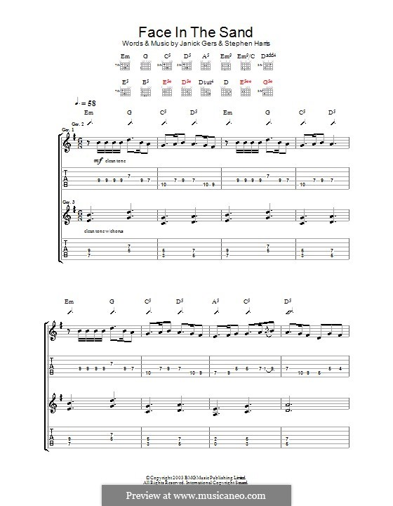 Face in the Sand (Iron Maiden): For guitar with tab by Janick Gers, Steve Harris