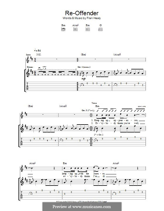 Re-Offender (Travis): For guitar with tab by Fran Healy