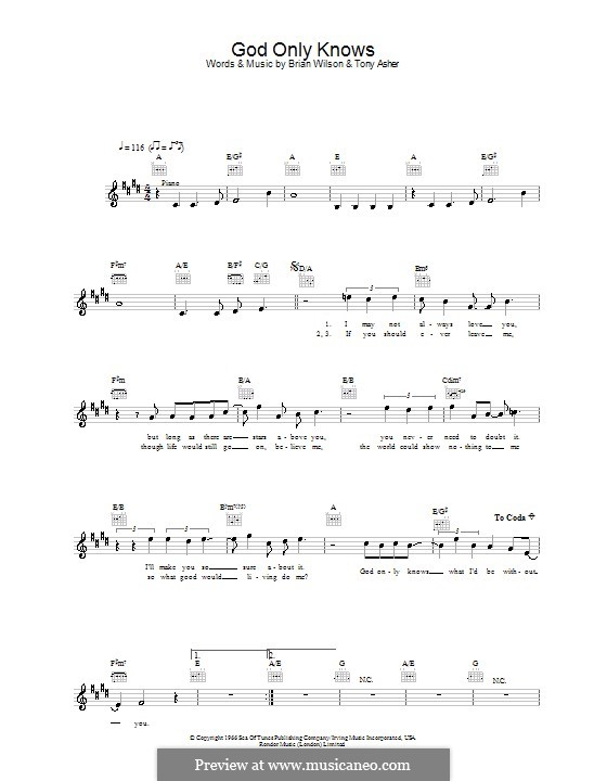 God Only Knows (The Beach Boys): Melody line, lyrics and chords by Brian Wilson, Tony Asher