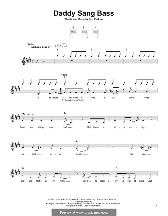 Daddy Sang Bass (Johnny Cash): For guitar with tab by Carl Lee Perkins
