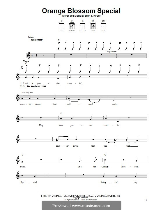 Orange Blossom Special: For guitar (with strumming patterns) by Ervin T. Rouse