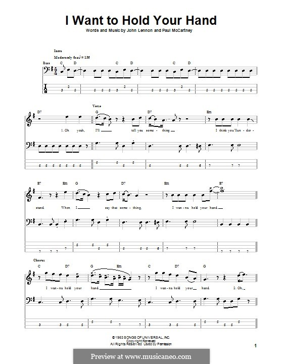I Want to Hold Your Hand (The Beatles): For bass guitar with tab by John Lennon, Paul McCartney