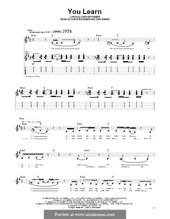 You Learn: For guitar with tab by Alanis Morissette, Glen Ballard
