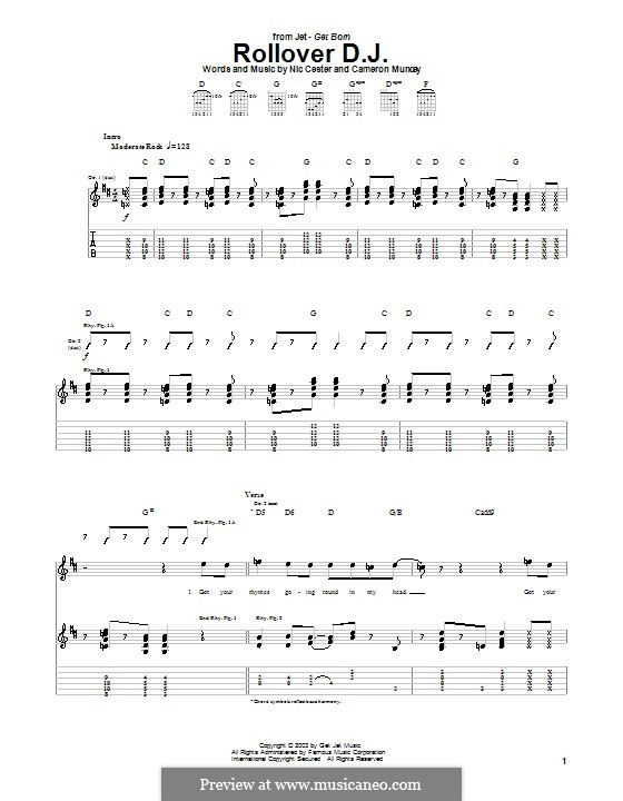 Rollover D.J. (Jet): For guitar with tab by Cameron Muncey, Nic Cester