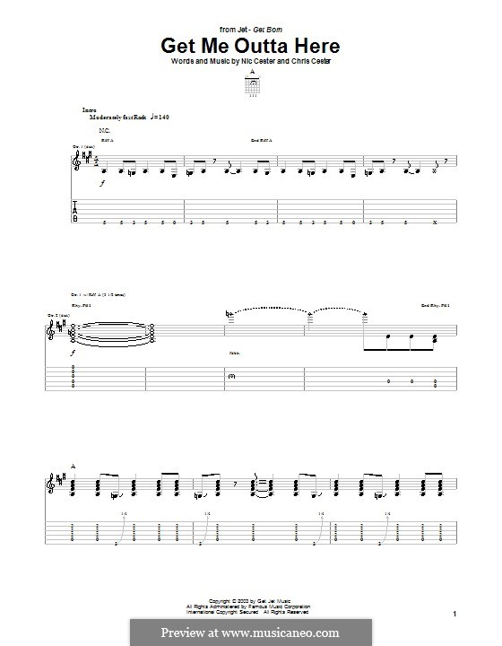 Get Me Outta Here (Jet): For guitar with tab by Chris Cester, Nic Cester