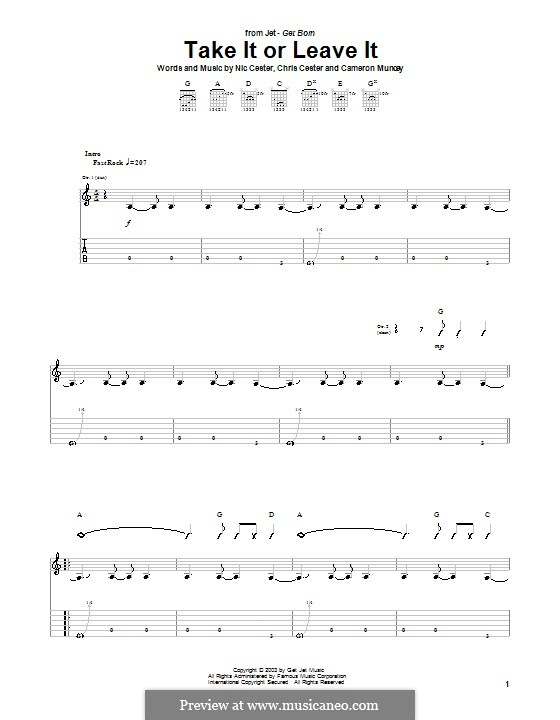 Take It or Leave It (Jet): For guitar with tab by Cameron Muncey, Chris Cester, Nic Cester