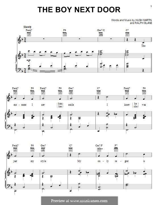 The Boy Next Door (Judy Garland): Für Stimme und Klavier (oder Gitarre) by Hugh Martin, Ralph Blane