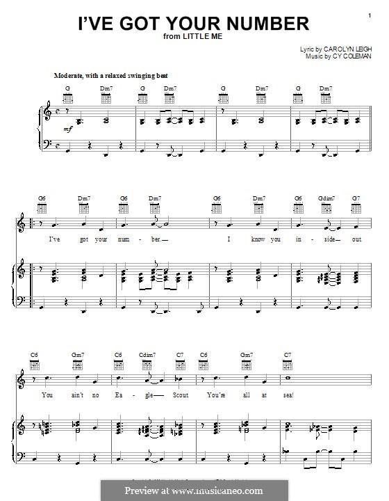 I've Got Your Number (Peggy Lee): Für Stimme und Klavier (oder Gitarre) by Cy Coleman