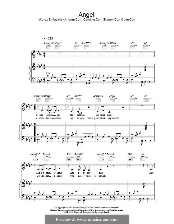 Angel (The Corrs): Für Stimme und Klavier (oder Gitarre) by Andrea Corr, Caroline Corr, Sharon Corr