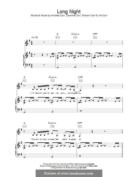 Long Night (The Corrs): Für Stimme und Klavier (oder Gitarre) by Andrea Corr, Caroline Corr, Sharon Corr