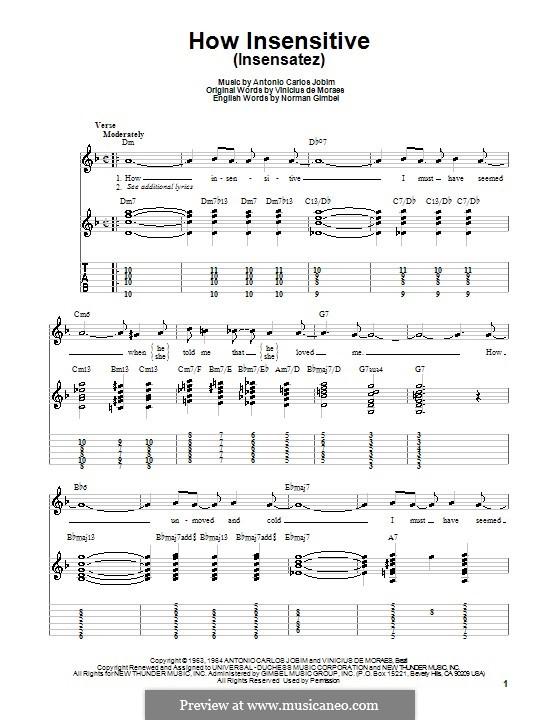How Insensitive (Insensatez): Für Gitarre (Sehr leichte Fassung) by Antonio Carlos Jobim