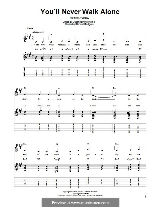 You'll Never Walk Alone (from Carousel): Für Gitarre (leicht, mit Tabulatur) by Richard Rodgers