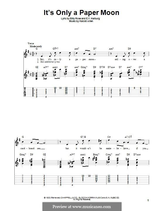 It's Only a Paper Moon: Für Gitarre (Sehr leichte Fassung) by Harold Arlen