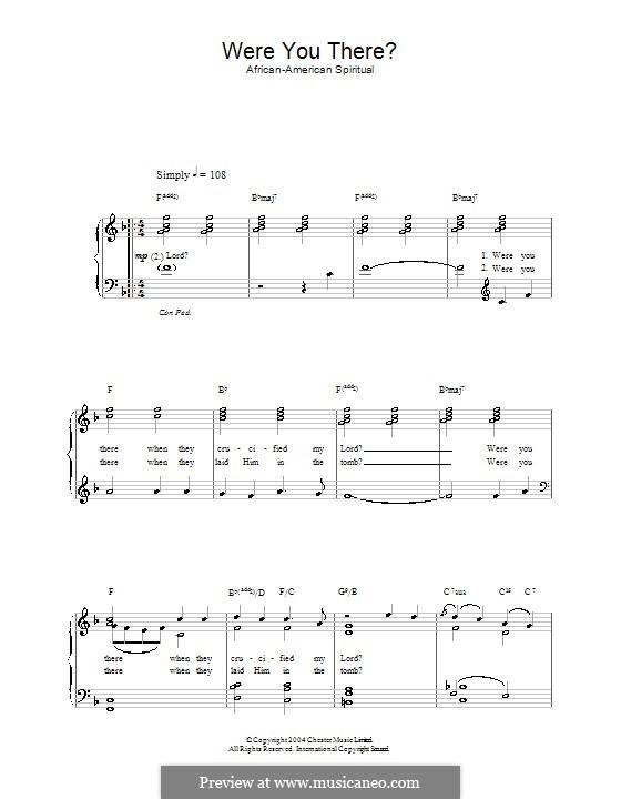 Were You There: Für Stimme und Klavier by folklore