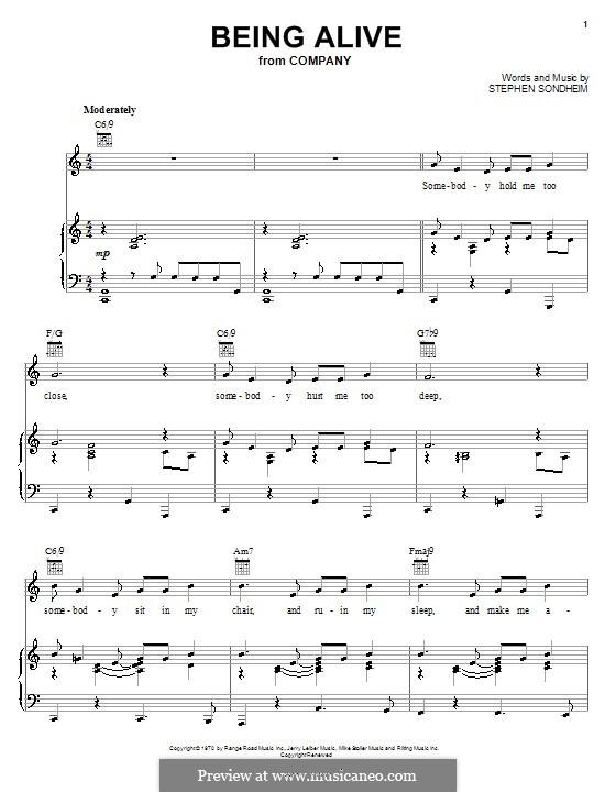 Being Alive (from Company): Für Stimme und Klavier (oder Gitarre) by Stephen Sondheim