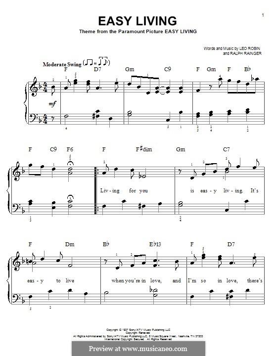 Easy Living (Billie Holiday): Einfache Noten für Klavier by Leo Robin, Ralph Rainger