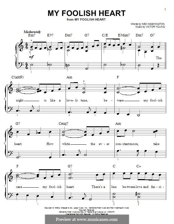 My Foolish Heart: Einfache Noten für Klavier by Victor Young