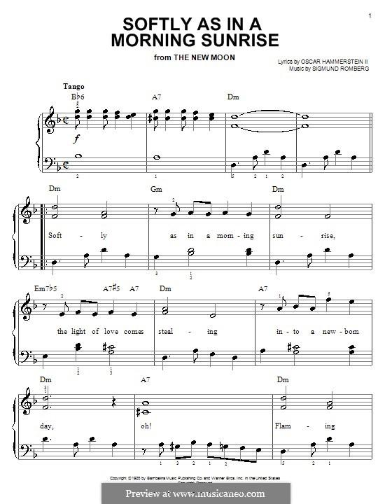 Softly as in a Morning Sunrise: Für Klavier, leicht by Sigmund Romberg