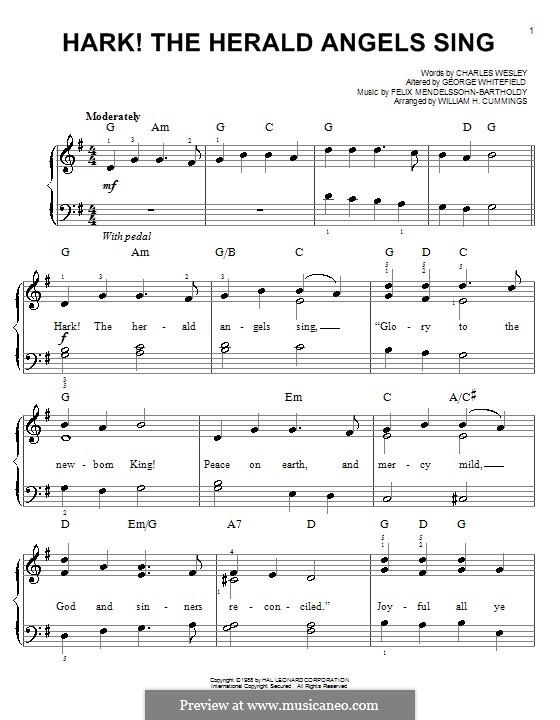 Hark! The Herald Angels Sing, for Piano: Version für leichtes Klavier by Felix Mendelssohn-Bartholdy