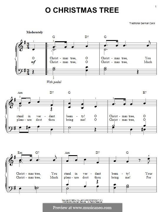 O Tannenbaum, für Klavier: Klavierversion für Anfänger (G-Dur) by folklore