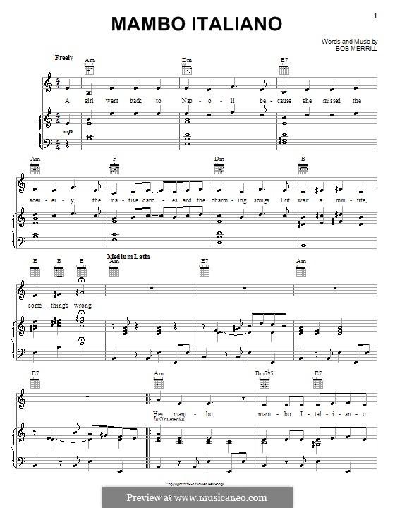 Mambo Italiano: Für Stimme und Klavier (oder Gitarre) by Bob Merrill
