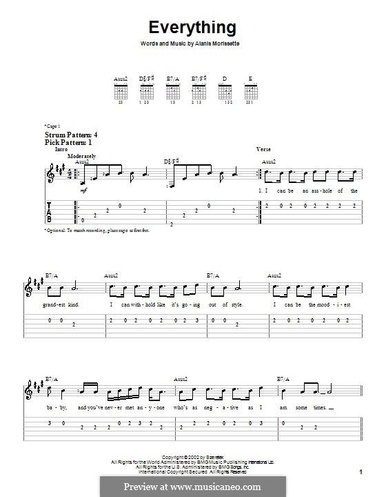 Everything: Für Gitarre (Sehr leichte Fassung) by Alanis Morissette