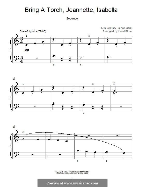 Bring a Torch, Jeannette Isabella: Für Klavier, vierhändig by folklore