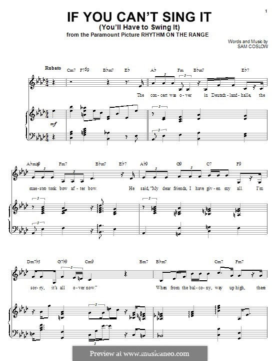 If You Can't Sing It (You'll Have to Swing It): Für Stimme und Klavier (oder Gitarre) by Sam Coslow