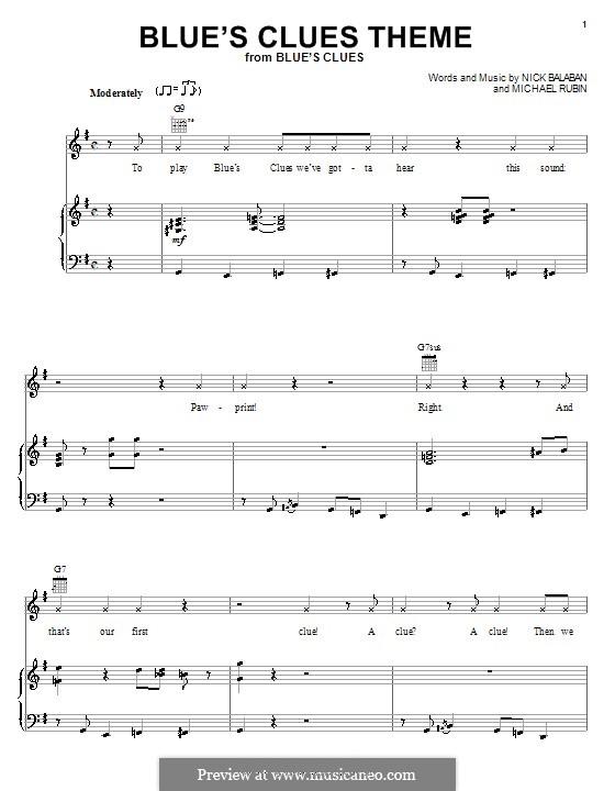 Blue's Clues Theme: Für Stimme und Klavier (oder Gitarre) by Michael Rubin