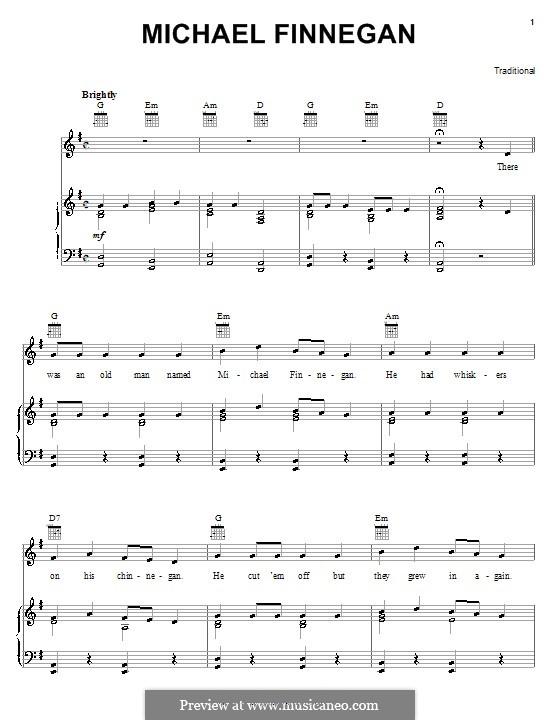 Michael Finnegan: Für Stimme und Klavier (oder Gitarre) by folklore