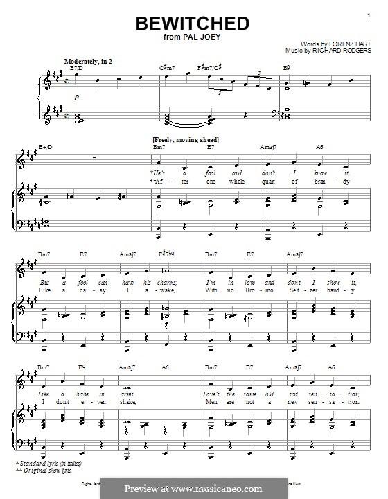 Bewitched (The Betty Smith Group): Für Stimme und Klavier oder Gitarre (A-Dur) by Richard Rodgers