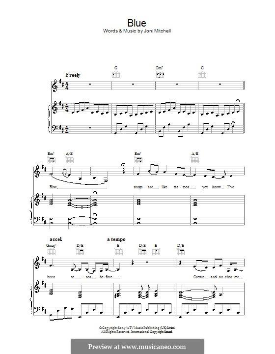 Blue: Für Stimme und Klavier (oder Gitarre) by Joni Mitchell