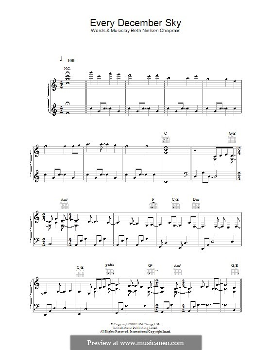 Every December Sky: Für Stimme und Klavier (oder Gitarre) by Beth Nielsen Chapman