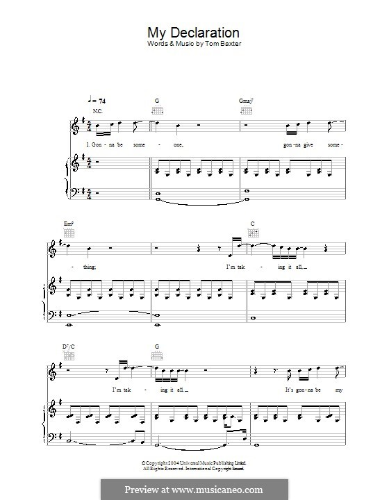 My Declaration: Für Stimme und Klavier (oder Gitarre) by Tom Baxter