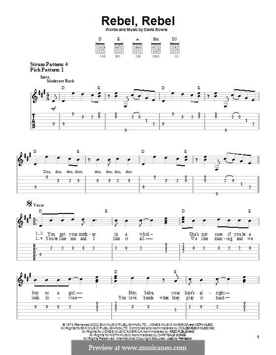 Rebel Rebel: Für Gitarre (leicht, mit Tabulatur) by David Bowie