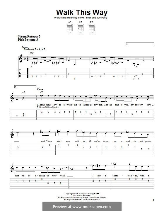 Walk This Way (Aerosmith and Run D.M.C.): Für Gitarre (Sehr leichte Fassung) by Joe Perry, Steven Tyler