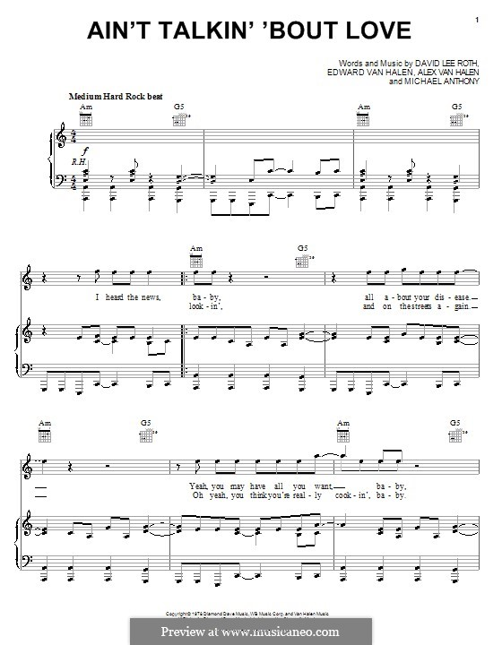 Ain't Talkin' 'Bout Love (Van Halen): Für Stimme und Klavier (oder Gitarre) by Alex Van Halen, David Lee Roth, Edward Van Halen, Michael Anthony