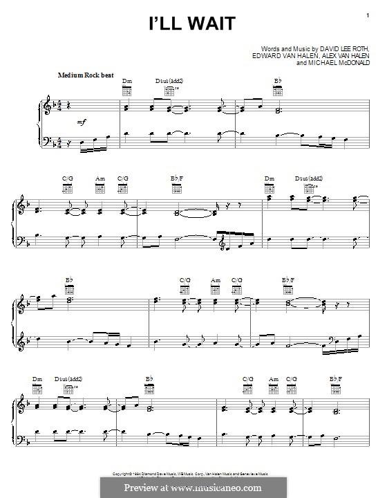 I'll Wait: Für Stimme und Klavier (oder Gitarre) by Alex Van Halen, Edward Van Halen, Michael McDonald