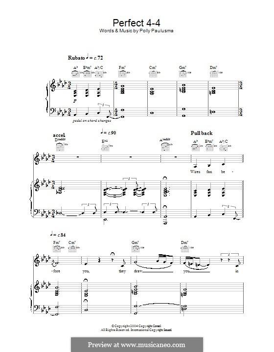Perfect 4-4: Für Stimme und Klavier (oder Gitarre) by Polly Paulusma