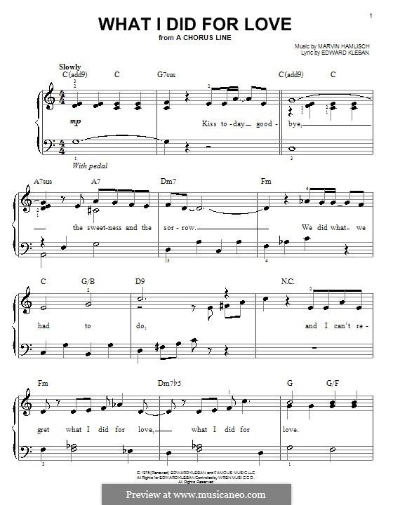 What I Did for Love (Priscilla Lopez): Für Klavier, leicht by Marvin Hamlisch