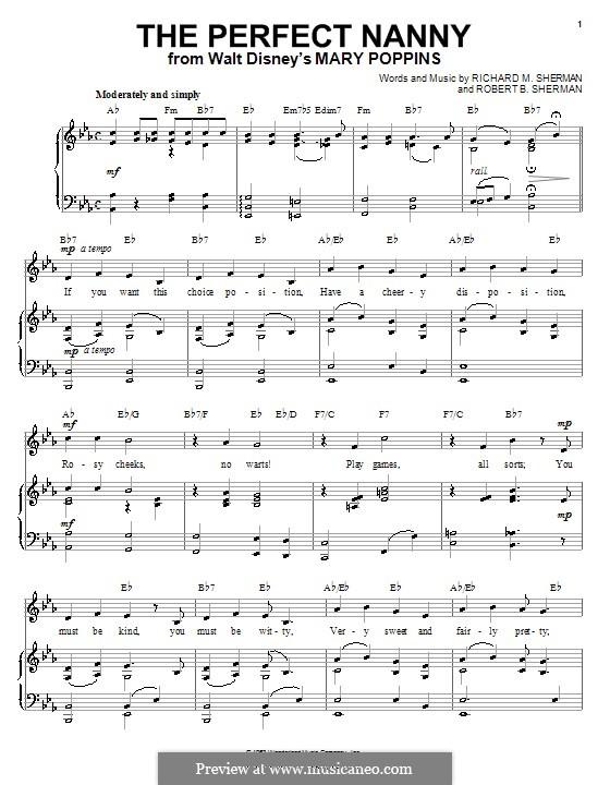 The Perfect Nanny: Für Stimme und Klavier (oder Gitarre) by Richard M. Sherman, Robert B. Sherman