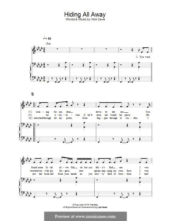 Hiding All Away: Für Stimme und Klavier (oder Gitarre) by Nick Cave